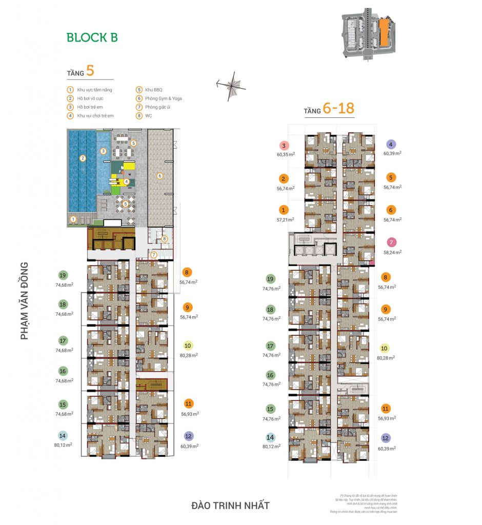 Mặt bằng Block B căn hộ Flora Novia