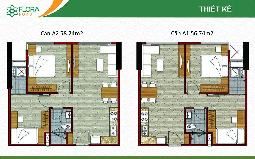 Mặt bằng thiết kế căn hộ 56m2 và 58m2