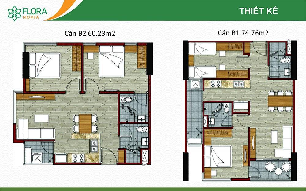 Mặt bằng thiết kế căn hộ 60m2 và 74m2