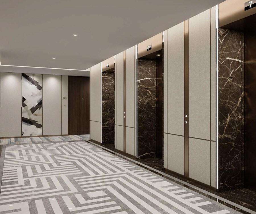 Khu vực sảnh thang máy cũng được thiết kế với những trang thiết bị cao cấp