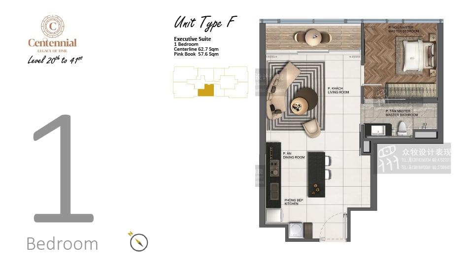 Mặt bằng căn hộ từ tầng 20 đến tầng 41: 1 phòng ngủ, mẫu F, diện tích 62,7m2