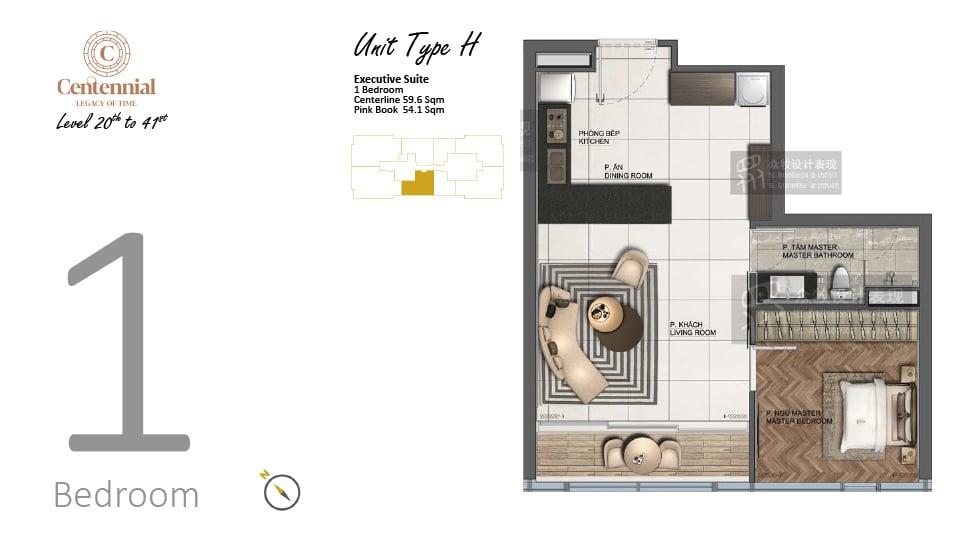 Mặt bằng căn hộ từ tầng 20 đến tầng 41: 1 phòng ngủ, mẫu H, diện tích 59,6m2