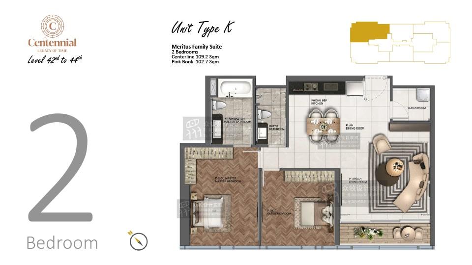 Mặt bằng căn hộ từ tầng 42 đến tầng 44: 2 phòng ngủ, mẫu K, diện tích 109,2m2