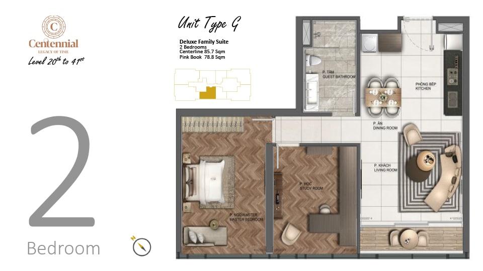 Mặt bằng căn hộ từ tầng 20 đến tầng 41: 2 phòng ngủ, mẫu G, diện tích 85,7m2