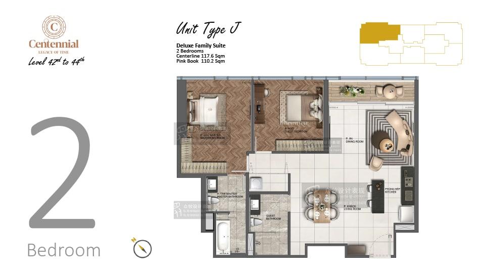 Mặt bằng căn hộ từ tầng 42 đến tầng 44: 2 phòng ngủ, mẫu J, diện tích 117,6m2