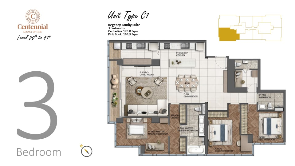 Mặt bằng căn hộ từ tầng 20 đến tầng 41: 3 phòng ngủ, mẫu C, diện tích 178m2