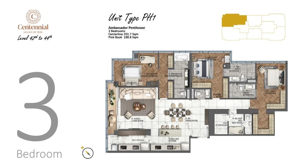 Mặt bằng căn hộ từ tầng 42 đến tầng 44: 3 phòng ngủ, mẫu PH1, diện tích 201,7m2