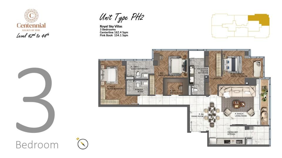Mặt bằng căn hộ từ tầng 42 đến tầng 44: 3 phòng ngủ, mẫu PH2, diện tích 162,4m2