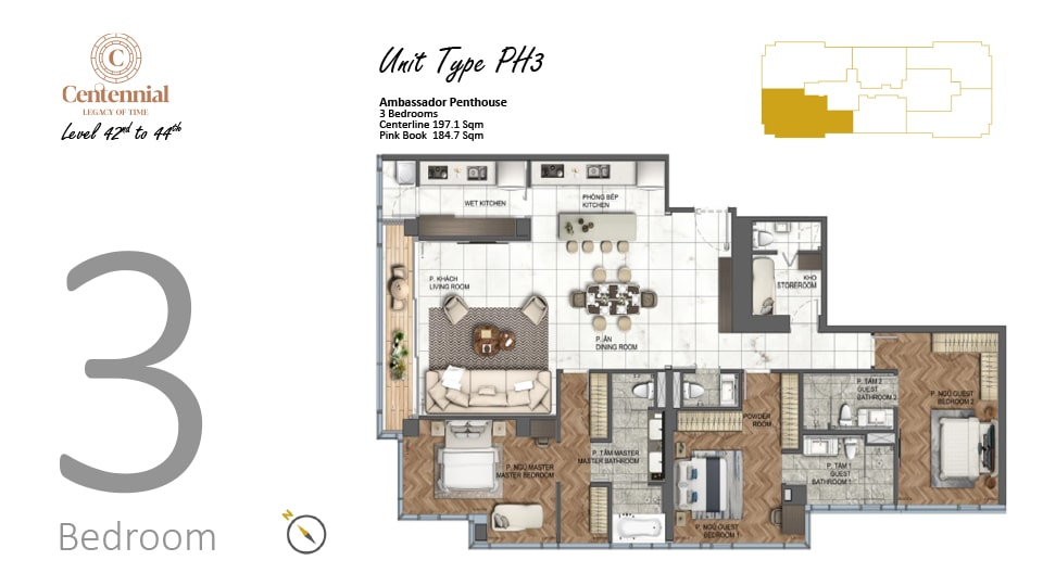 Mặt bằng căn hộ từ tầng 42 đến tầng 44: 3 phòng ngủ, mẫu PH3, diện tích 197,1m2
