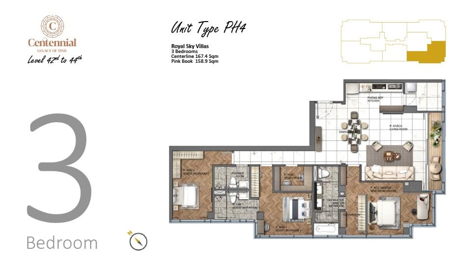 Mặt bằng căn hộ từ tầng 42 đến tầng 44: 3 phòng ngủ, mẫu PH4, diện tích 167,4m2
