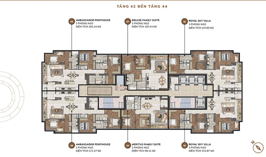 Mặt bằng tầng căn hộ Centennial từ tầng 42 đến tầng 44.
