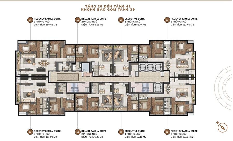Mặt bằng tầng căn hộ Centennial từ tầng 20 đến tầng 41.