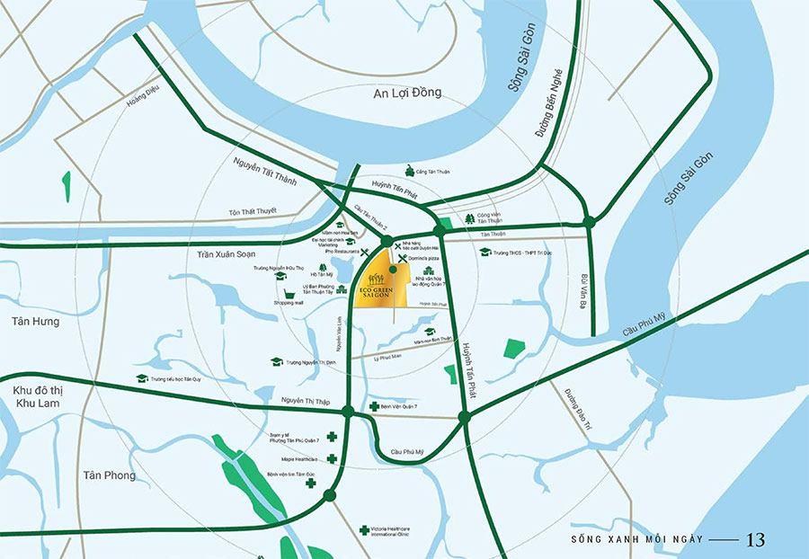 Nhìn sơ đồ có thể thấy dự ánEco Green Sai Gon chiếm lĩnh một vị trí vàng đắc địa ngay trung tâm của Thành phố Hồ Chí Minh