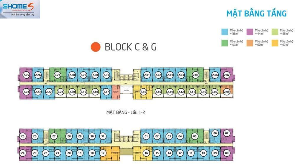 Mặt bằng tầng Block C và Block G của Ehome S.