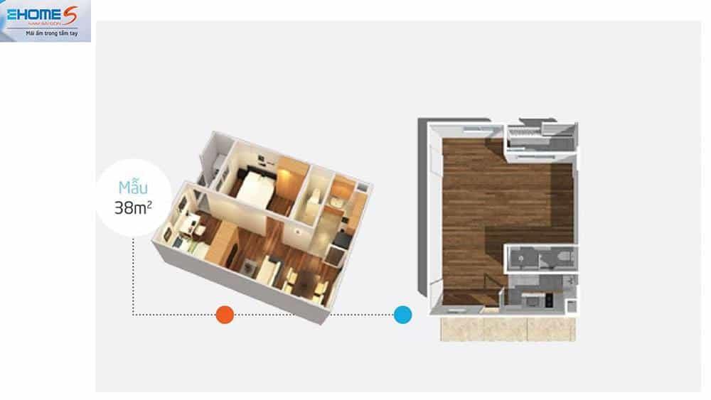 Phối cảnh mặt bằng căn hộ mẫu Ehome S 38m2.