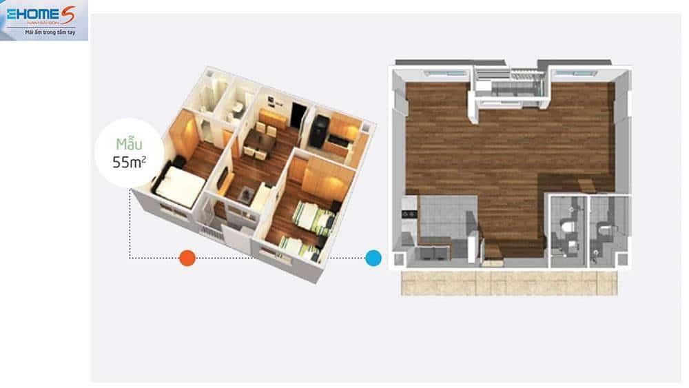 Phối cảnh mặt bằng căn hộ mẫu Ehome S 55m2.