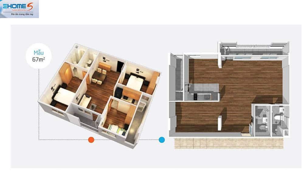 Phối cảnh mặt bằng căn hộ mẫu Ehome S 67m2.