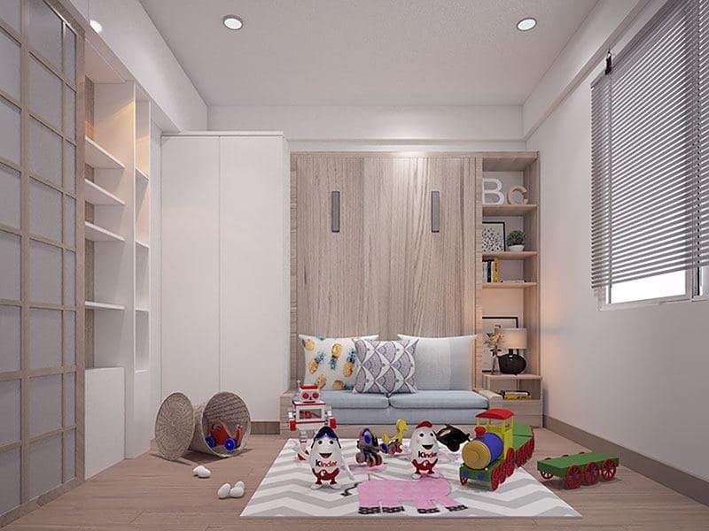 Phòng ngủ nhỏ được thiết kế với nội thất thông minh để có một khoản không vui chơi cho bé.
