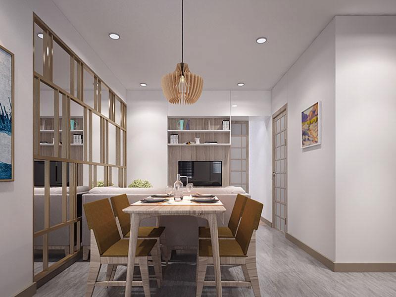 Khu vực bàn ăn và phòng khách của căn Hộ Ehome S Bình Chánh.