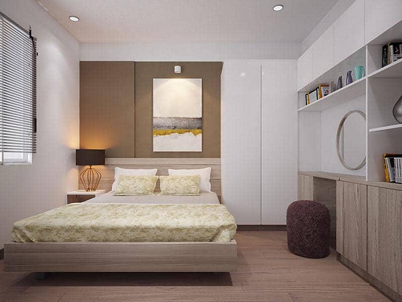 Phòng ngủ lớn rộng rãi cho chủ nhân ngôi nhà có những khoảng không thoáng đãng.