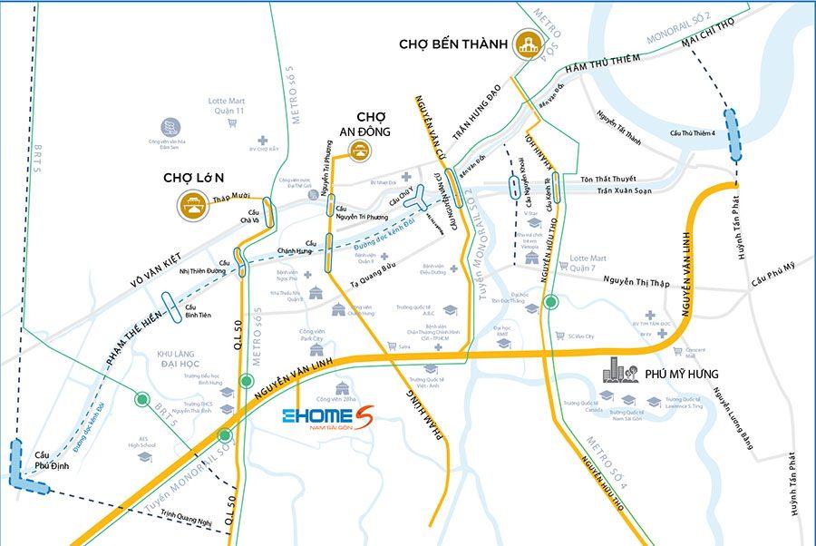 Vị trí khu căn hộ Ehome S Nam Sài Gòn tại Bình Hưng, Bình Chánh.