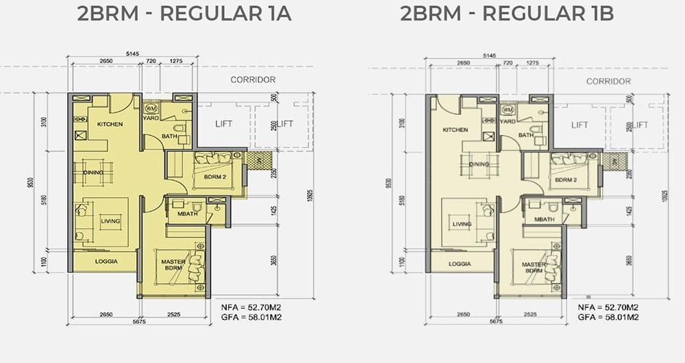 Mặt bằng chi tiết căn hộ 2 phòng ngủ mẫu 1A, mẫu 1B