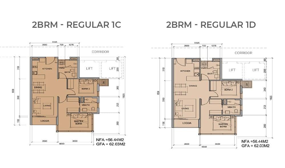Mặt bằng chi tiết căn hộ 2 phòng ngủ mẫu 1C, mẫu 1D