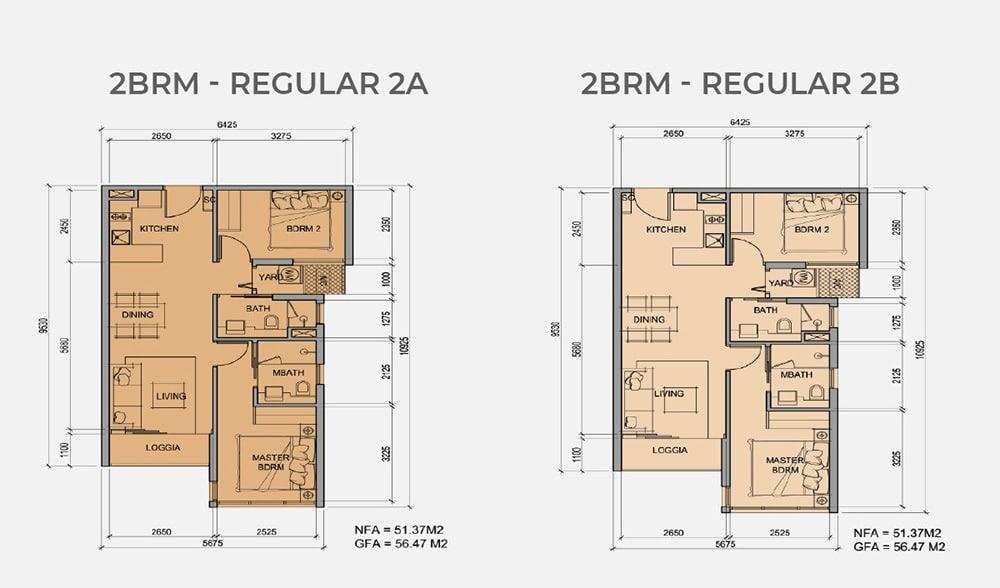 Mặt bằng chi tiết căn hộ 2 phòng ngủ mẫu 2A, mẫu 2B