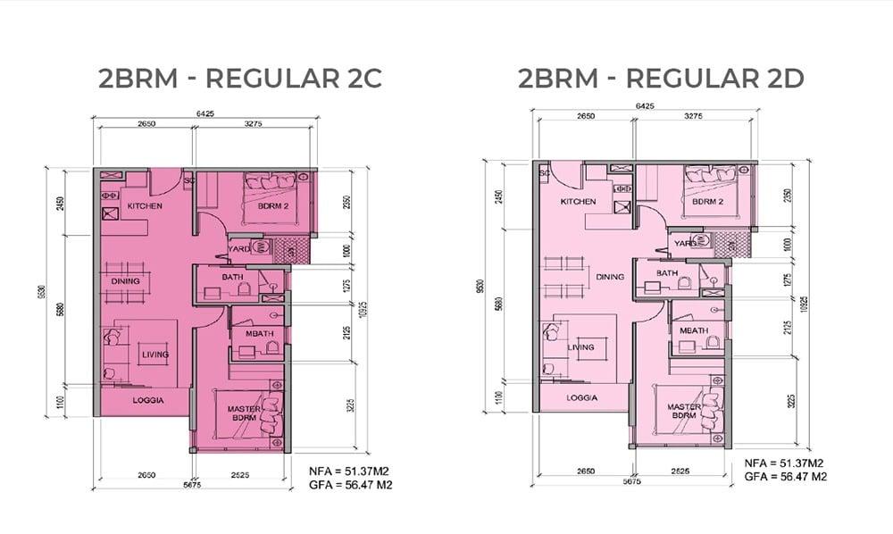 Mặt bằng chi tiết căn hộ 2 phòng ngủ mẫu 2C, mẫu 2D
