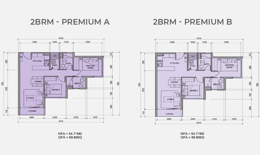Mặt bằng chi tiết căn hộ 2 phòng ngủ mẫu Premium A, Premium B