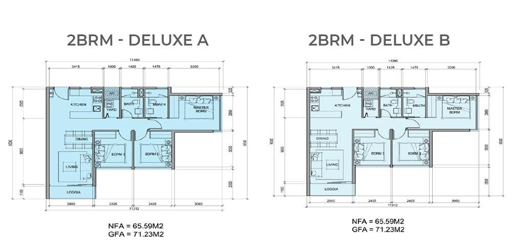 Mặt bằng chi tiết căn hộ 2 phòng ngủ mẫu Deluxe A, Deluxe B