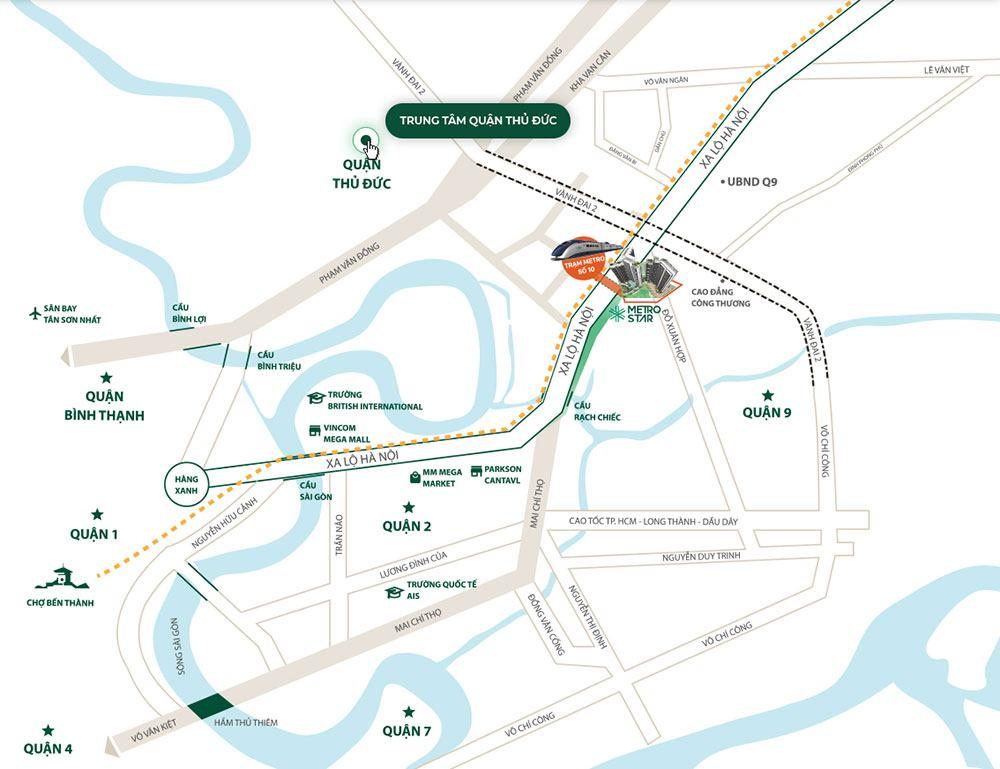 Metro Star nằm ngay vị trí đắc địa trên mặt tiền đường Xa Lộ Hà Nội.