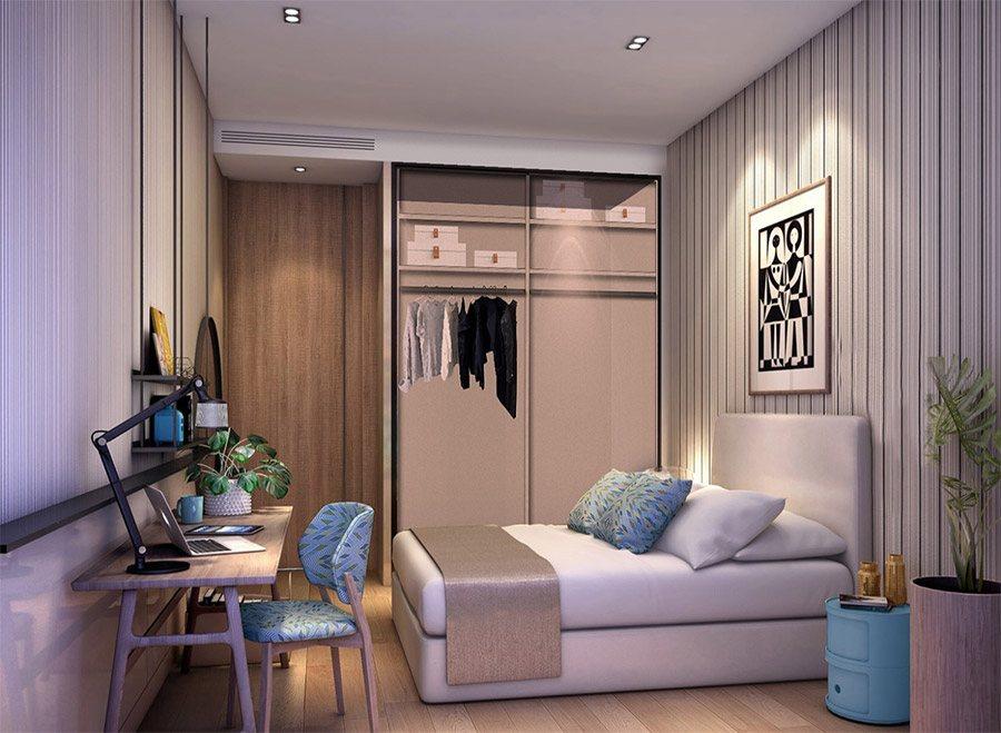 Hình ảnh mẫu thiết kế căn hộ 1 phòng ngủ Alpha Hill.