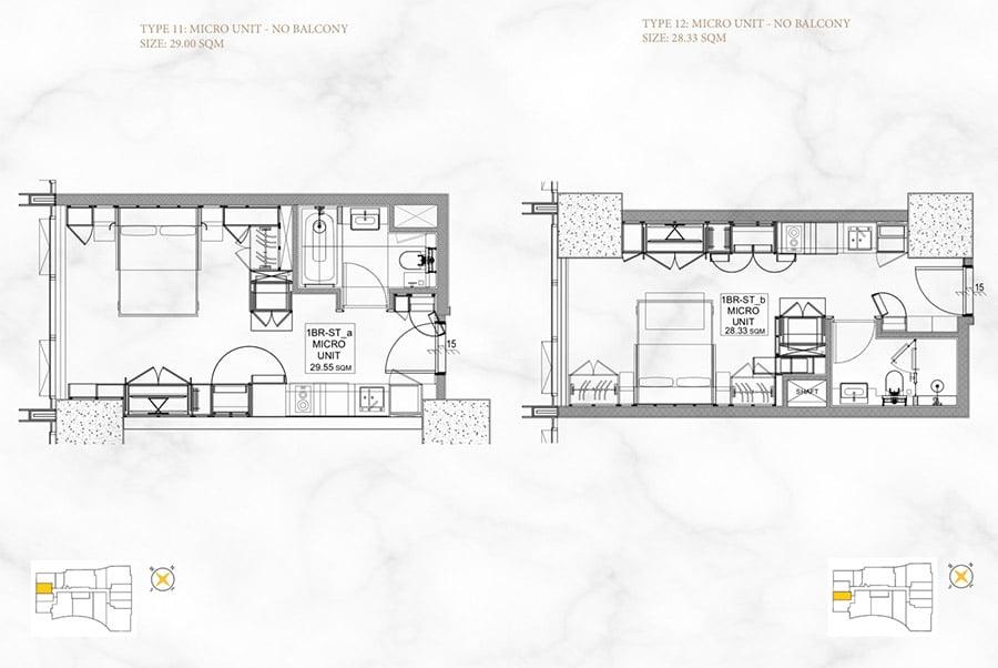 Mặt bằng căn hộ 1 phòng ngủ, diện tích 28m2 và 29m2 của Alpha Hill.