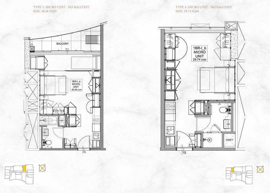 Mặt bằng căn hộ 1 phòng ngủ, diện tích 30m2 và 48m2.