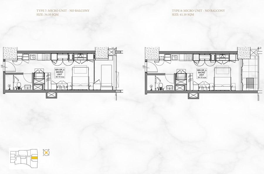 Mặt bằng căn hộ 1 phòng ngủ, diện tích 34m2 và 41m2.