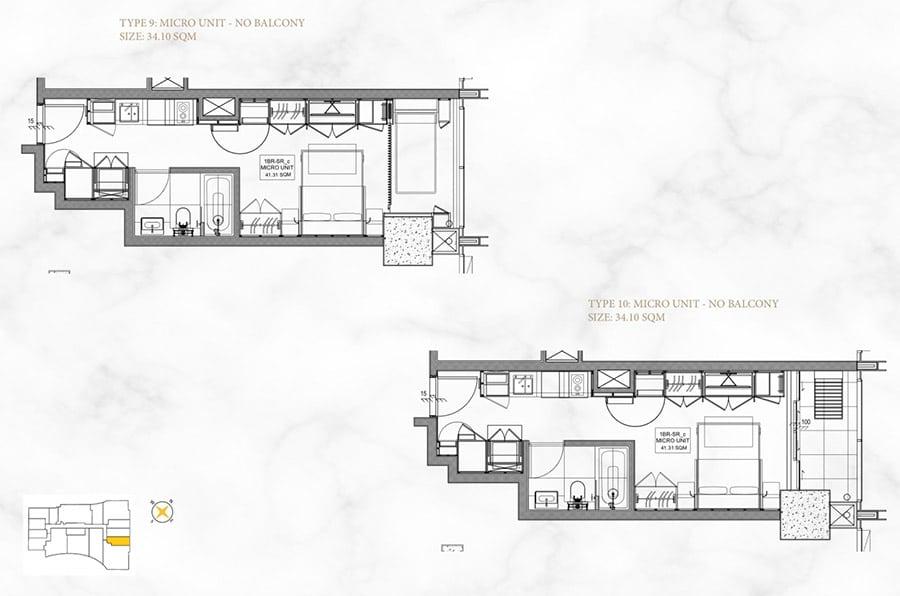 Mặt bằng căn hộ Alpha Hill 1 phòng ngủ, diện tích 34m2.