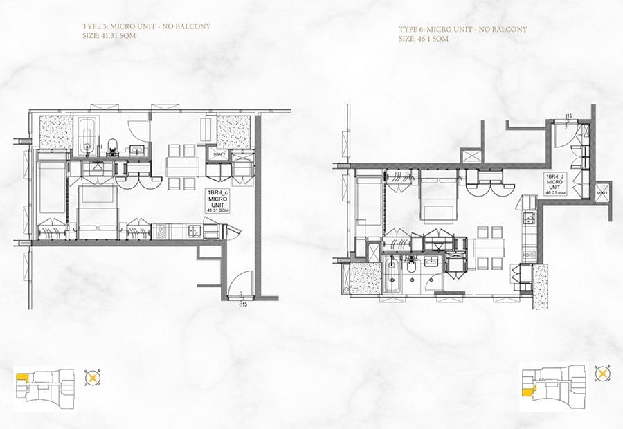 Mặt bằng căn hộ Alpha Hill 1 phòng ngủ, diện tích 41m2 và 46m2.