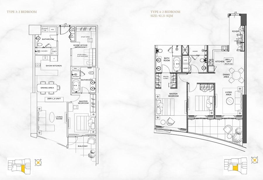 Mặt bằng căn hộ Alpha Hill 2 phòng ngủ, diện tích 92m2.