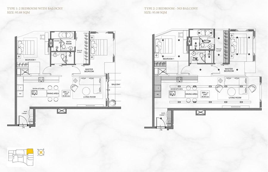 Mặt bằng căn hộ 2 phòng ngủ, diện tích 99m2.