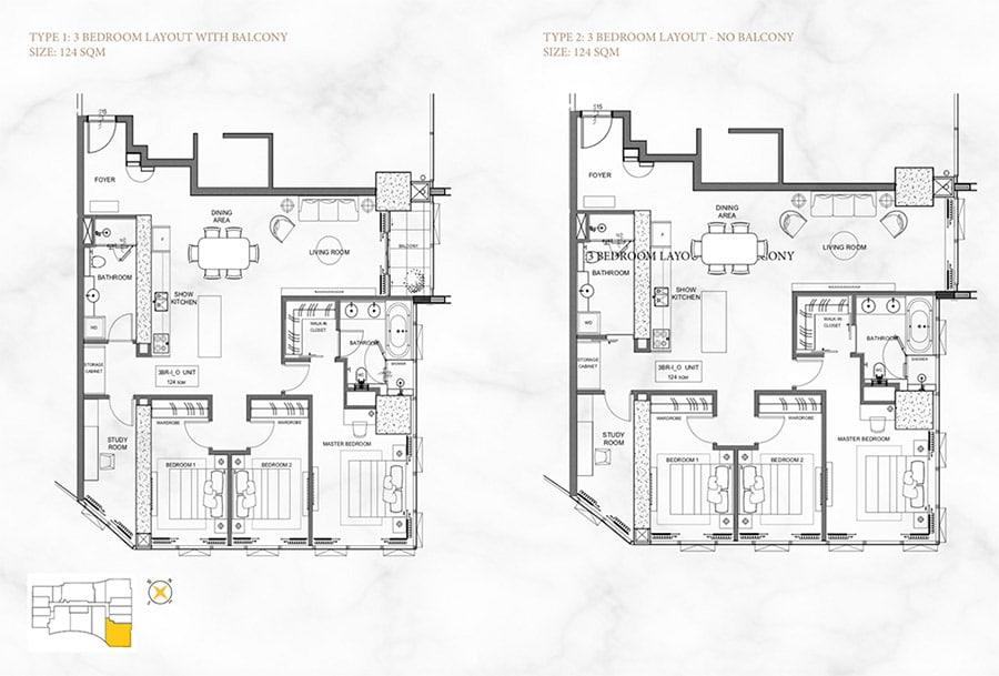 Mặt bằng căn hộ Alpha Hill 3 phòng ngủ, diện tích 124m2.