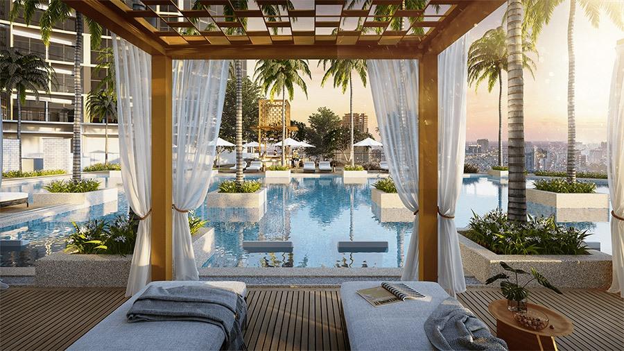 Tận hưởng không gian khoáng đạt và ngắm nhìn thành phố cùng Pool Cabana Alpha Hill.