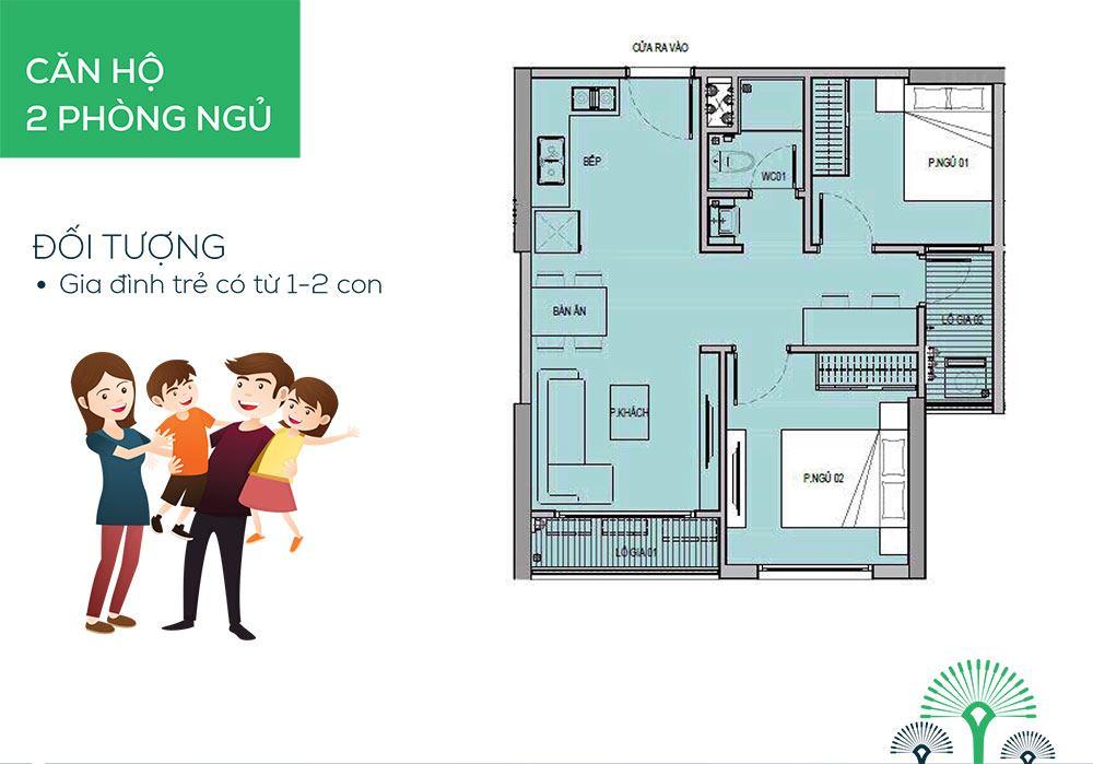 Mẫu căn hộ 2 phòng ngủ cho gia đình trẻ có 1 hoặc 2 con nhỏ.
