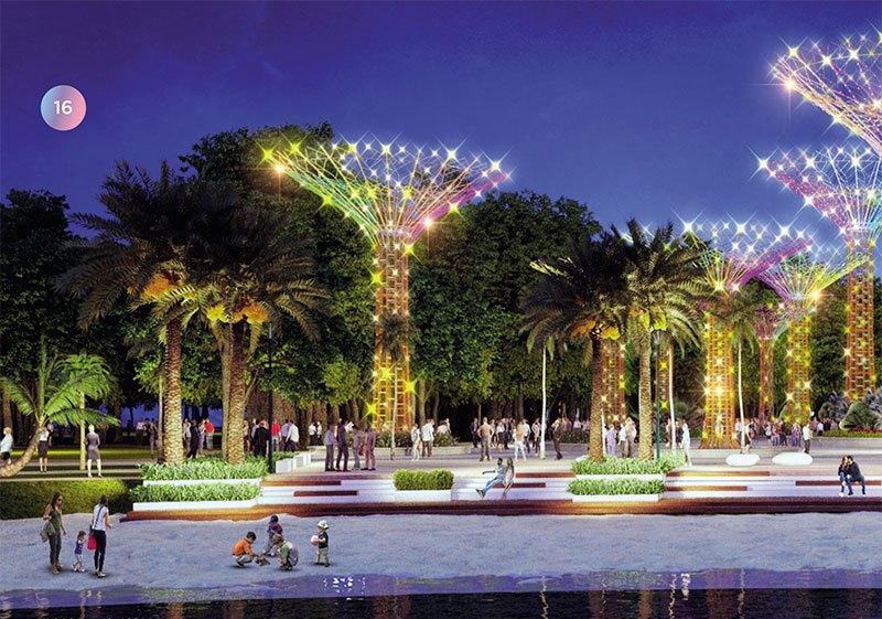 Công viên ánh sáng nghệ thuật với các siêu cây ánh sáng điểm nhấn cùng các tiểu khu đèn lồng lung linh, huyền ảo, lãng mạn.