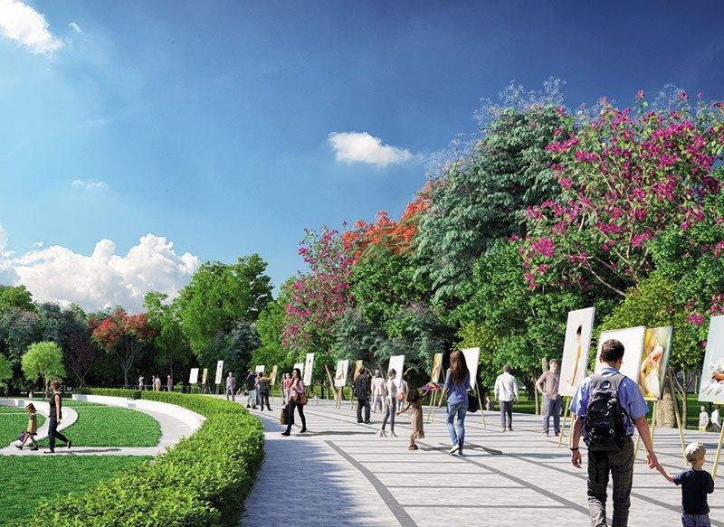 Công viên văn hóa nghệ thuật, nơi tổ chức các sự kiện triển lãm văn hóa, nghệ thuật đặc sắc, mang lại đời sống tinh thần phong phú cho cư dân.