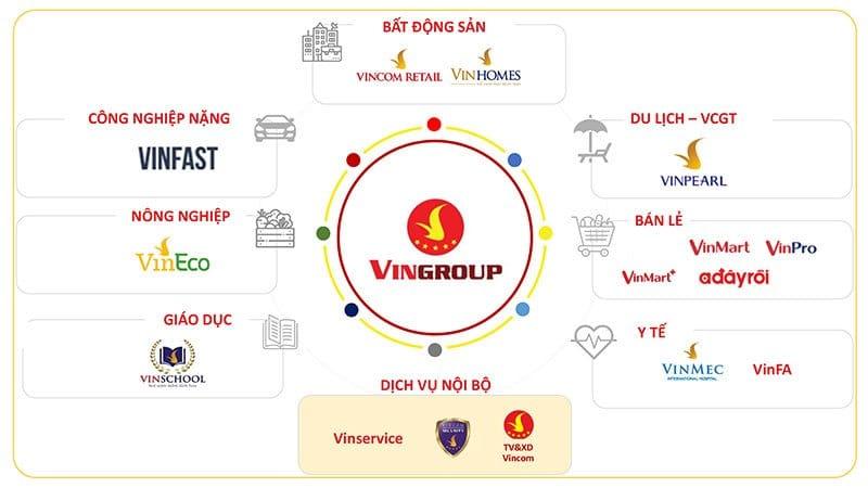 Các lĩnh vực mà tập đoàn Vingroup đang kinh doanh.