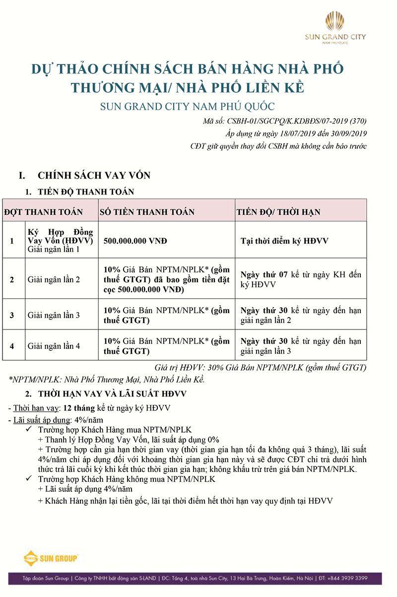 Tiến độ thanh toán và chính sách bán hàng của Sun Grand City Nam Phú Quốc.