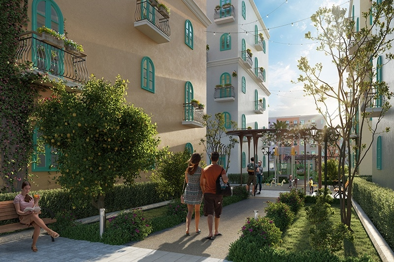 Khuôn viên nội khu mang đậm phong cách Địa Trung Hải.